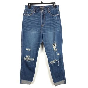 ABERCROMBIE & FINCH HIGH-WAISTED DISTRESSED JEANS